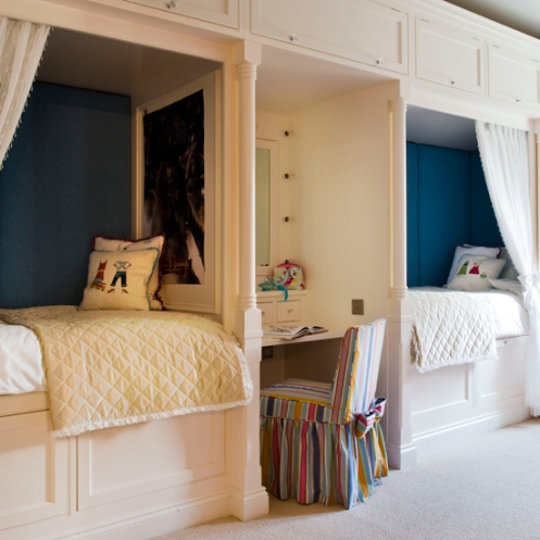 white and navy blue kids room built in bunks beds
