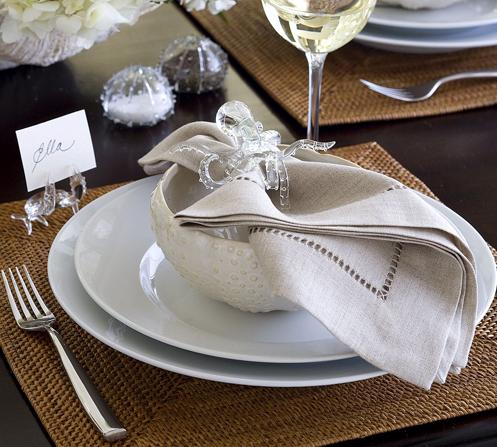 coastal napkin holder glass squid