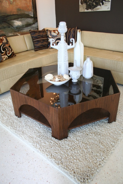hexagonal walnut retro coffee table