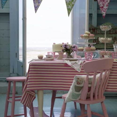 pink and blue cute dining room