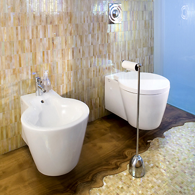 modern beige pearl bahtroom wood and mosaic tile floor