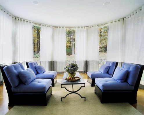 blue and white lounge area