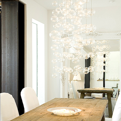 modern kitchen with glass bals chandelier