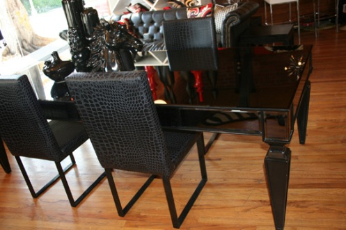 black mirrored dining room table modern retro, black croc skin dining chairs