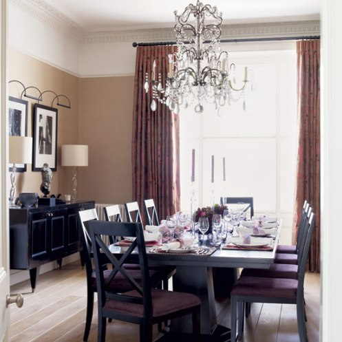 glamorous dining room with white chandelier