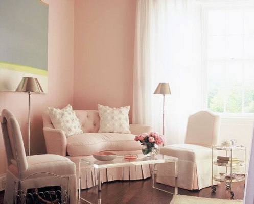 light soft pink and white bedroom seating area
