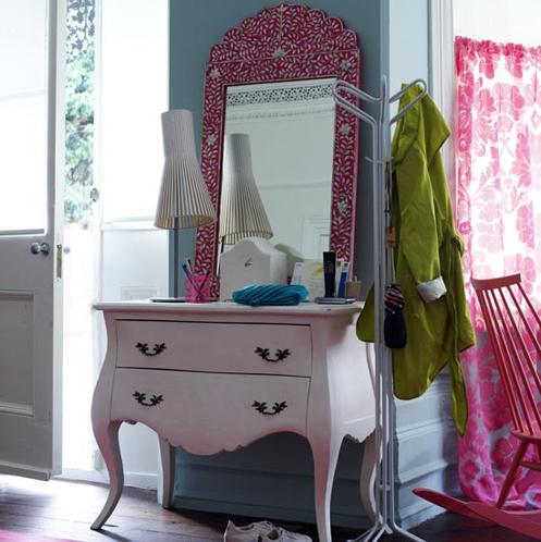 blue pink white dresser bedroom