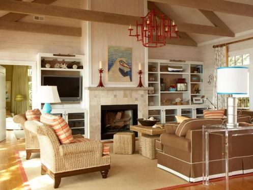 beachy coastal style living room red chandelier