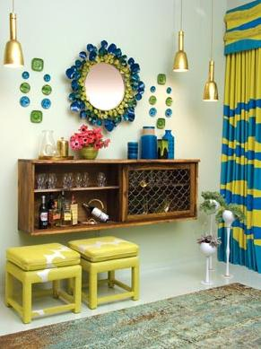white blue yellow green retro modern dining room
