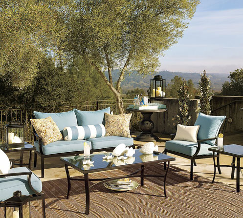 white blue coastal style outdoor furniture