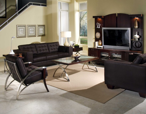 cream and brown modern living room