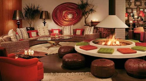 retro living room with bond fire