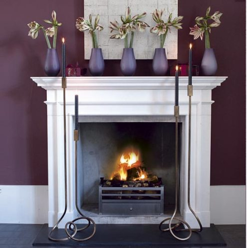 purple and white room fireplace