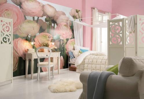 pink roses photo mural wallpaper