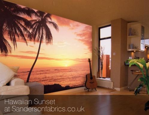 sunset beach bedroom photo mural wallpaper