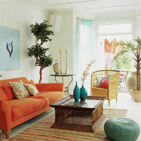 white orange and blue colorful living room