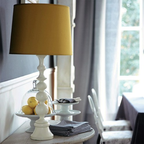 yellow white grey lamp living room detail