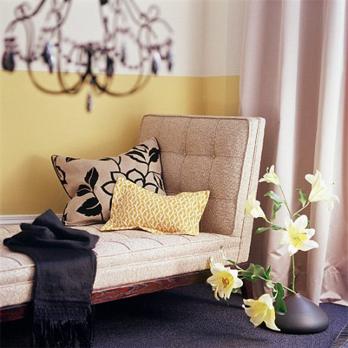 yellow tan coloers modern daybed black chandelier