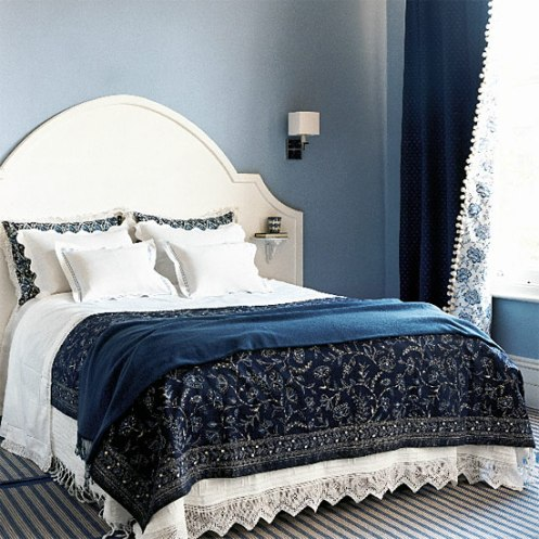 navy blue and white classic romantic bedroom