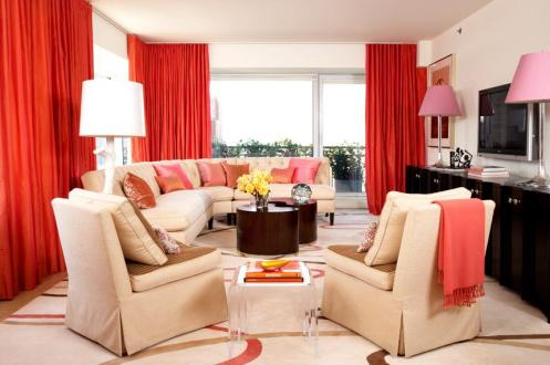 coral red and cream classic modern living room