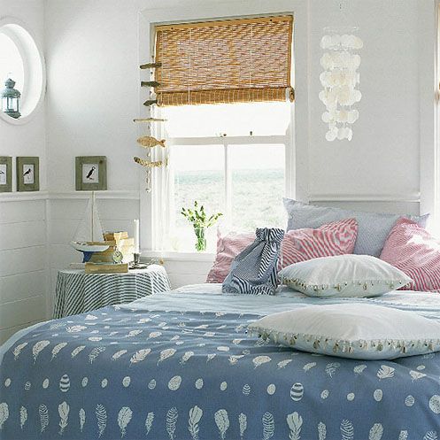 blue and pink coastal beachy bedroom