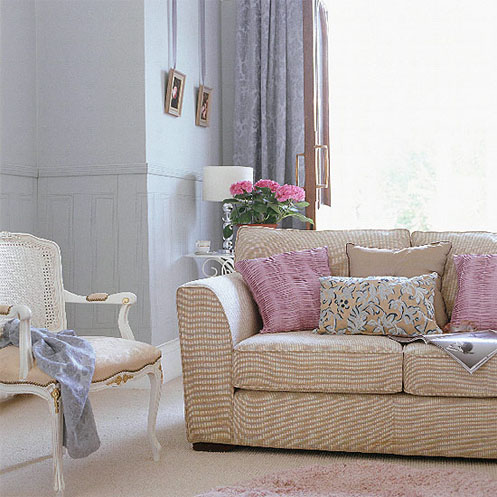 light blue and pink living room