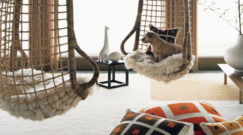 retro living room hanging wicker chairs
