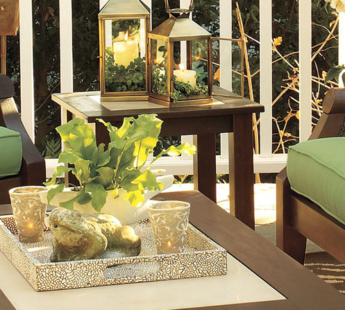 green and brown safari jungle style patio furniture