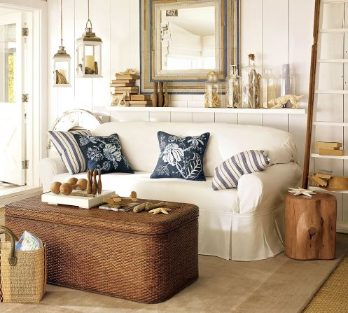 white and blue beachy coastal style living room