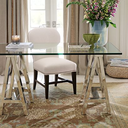 posh classy elegant home office glass desk
