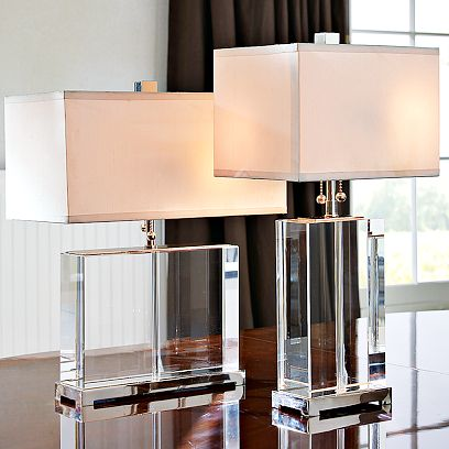 white pink lucite modern table lamps