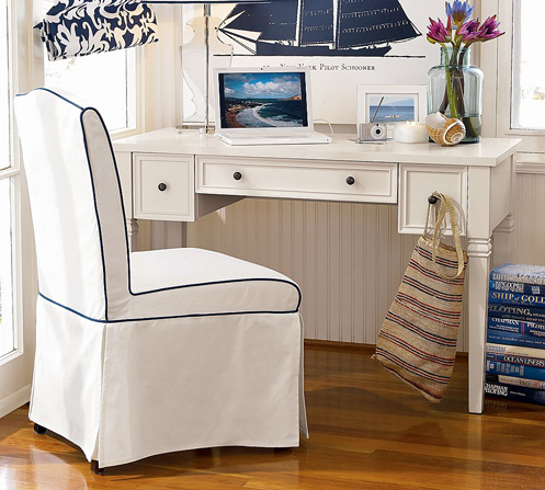 white and navy blue nautical home office