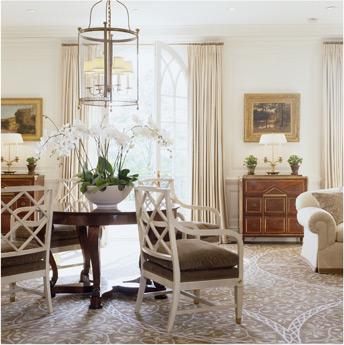 posh white dining room