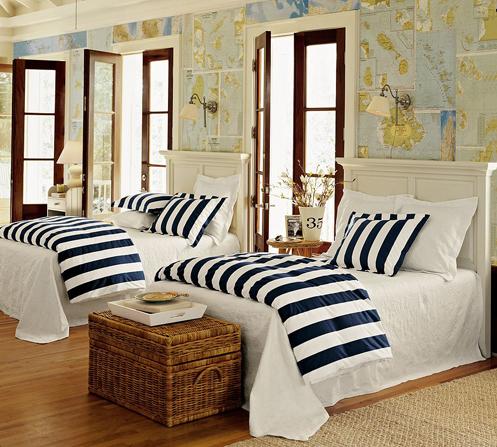 branco e azul quarto náuticas, mapa papel de parede, revestimento de parede