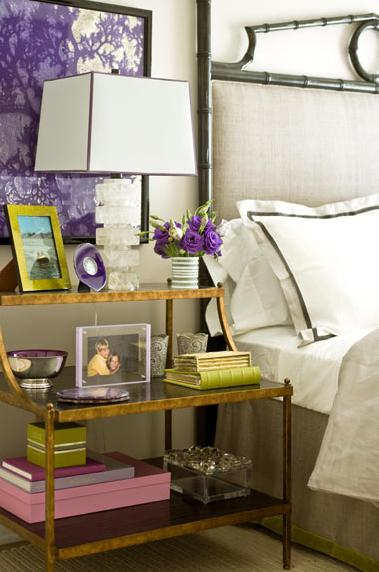 beachy coastal style white green purple bedroom