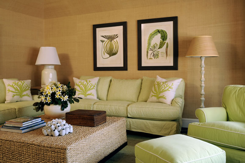 green beige white coastal style living room