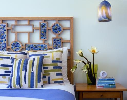 blue green retro bedroom