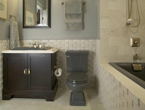 What do you think of the raw brick panel in this grey and beige bathroom  I  like it  and also I love the grey toilet  sink and bathtub. Smokey Hues   theLennoxx