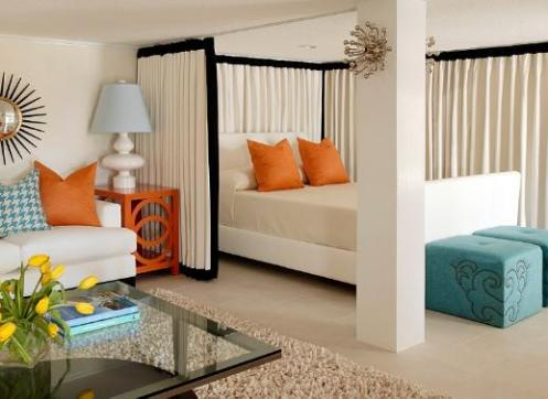 white orange blue modern bedroom