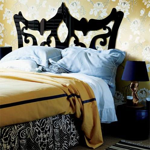 golden yellow and black modern bedroom