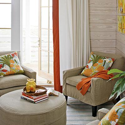 coastal beachy living room nook