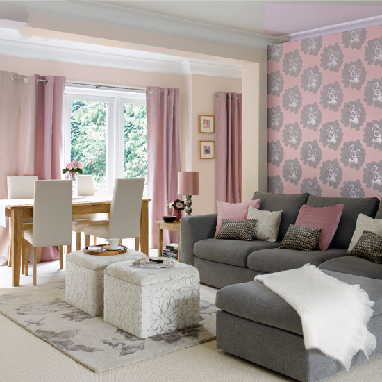 Lilac White Grey Modern Living Room Feature Wall Grey Sofa Part 15