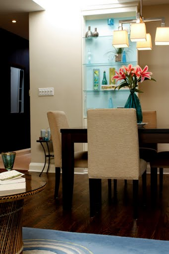 Cream Brown Turquoise Dining Room