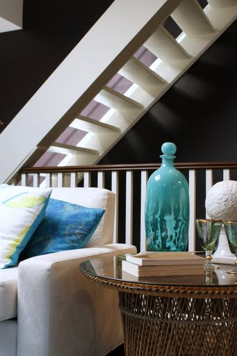 chocolate brown and white and turquoise living room