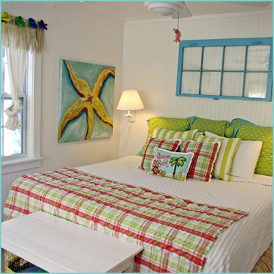 colorful bedroom white green turquoise red yellow