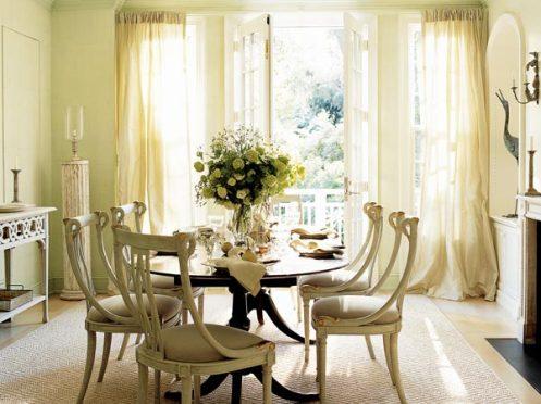 sunny cream white classic dining room