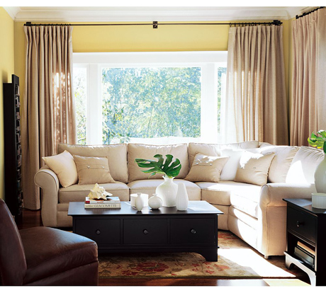 gerige white and sunny yellow living room