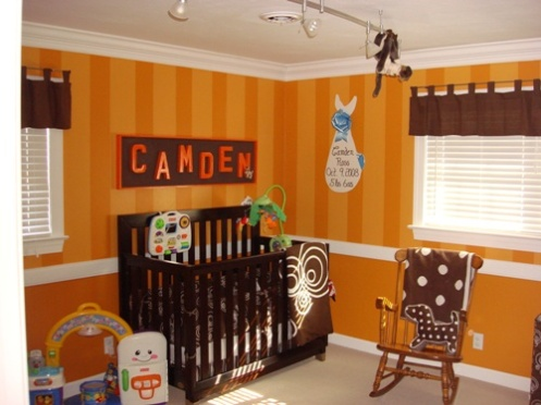 orange and brown baby nursery