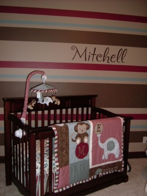 striped wall brown maroon blue baby nursery