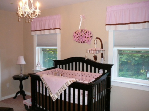 beige and pink baby girls nursery
